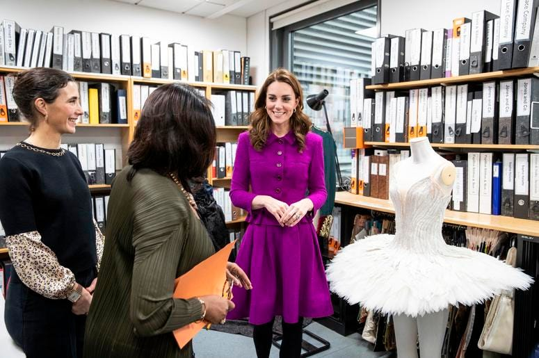 1/16/2019 - The Duchess of Cambridge in the Pattern Room with Fay Fullerton, Head of Costume at the Royal Opera House in London. (Photo by PA Images/Sipa USA) *** US Rights Only ***