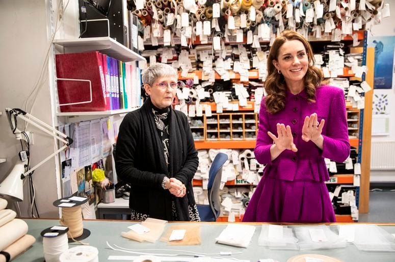 1/16/2019 - The Duchess of Cambridge in the Stock Room with Morag Beaton, Stock room supervisor during her visit to the Royal Opera House in London. (Photo by PA Images/Sipa USA) *** US Rights Only ***
