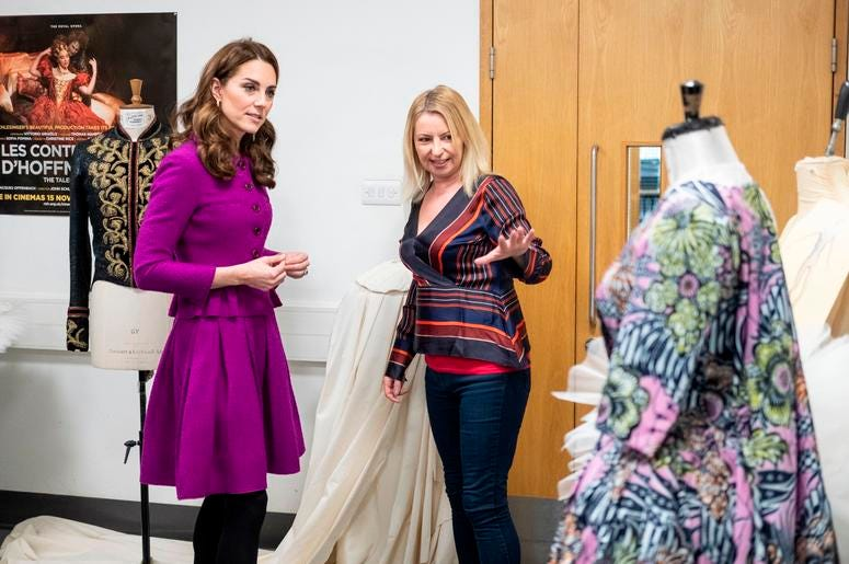 1/16/2019 - The Duchess of Cambridge with Catriona Paterson, Head of Ladies Workroom during her visit to the Royal Opera House in London. (Photo by PA Images/Sipa USA) *** US Rights Only ***