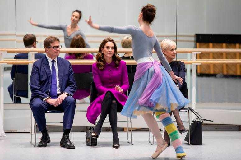 1/16/2019 - The Duchess of Cambridge watching Royal Ballet dancer during her visit to the Royal Opera House in London. (Photo by PA Images/Sipa USA) *** US Rights Only ***