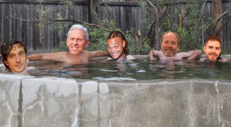 Crowder Parcels in hot tub