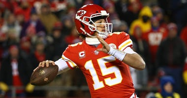 Patrick Mahomes throws a pass.