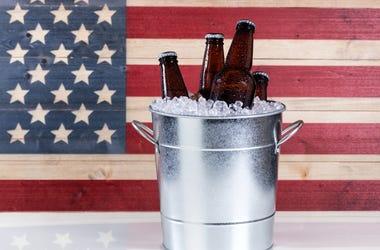 america flag beer bucket