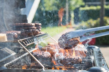 barbecue grill with meats
