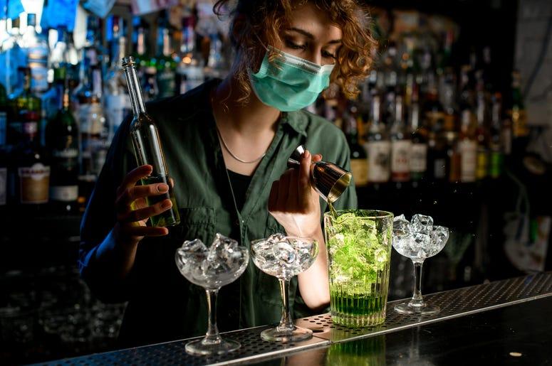 bartender with medical mask