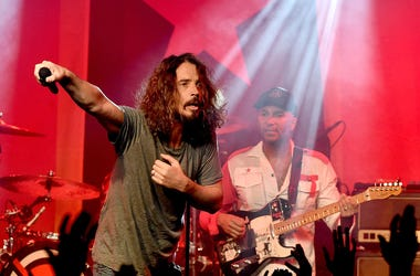 Musicians Chris Cornell (L) and Tom Morello of Audioslave perform at Prophets of Rage and Friends' Anti Inaugural Ball at the Taragram Ballroom on January 20, 2017 in Los Angeles, California
