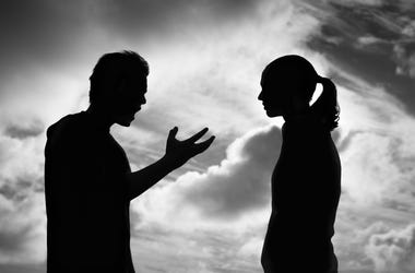 couple fighting silhouette