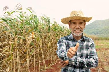 farmer giving thumbs up
