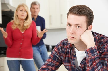 frustrated man with family
