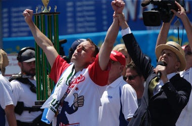 Joey Chestnut At Hot Dog Eating Contest
