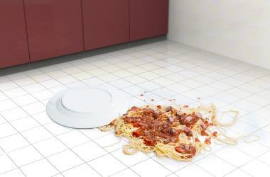 bowl of spaghetti on the floor