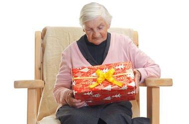 grandma with christmas gift