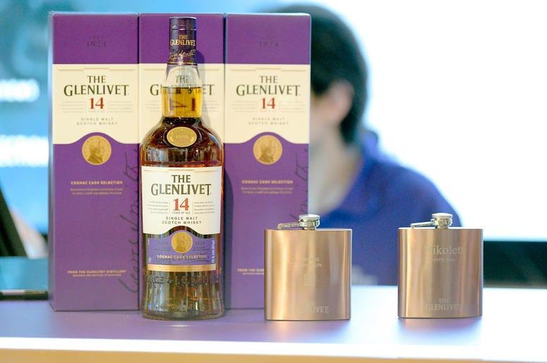 glenlivet whiskey and flasks