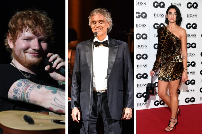 Ed Sheeran, Andrea Bocelli, Dua Lipa