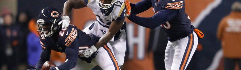 Bears cornerback Prince Amukamara (20) breaks up a pass intended for Rams receiver Brandin Cooks (12).