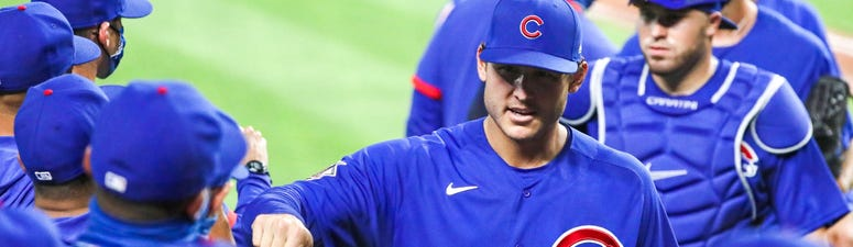 Cubs first baseman Anthony Rizzo, center, celebrates with teammates after a win.