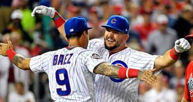 Cubs teammates Javier Baez, left, and Kyle Schwarber celebrate during the Home Run Derby.
