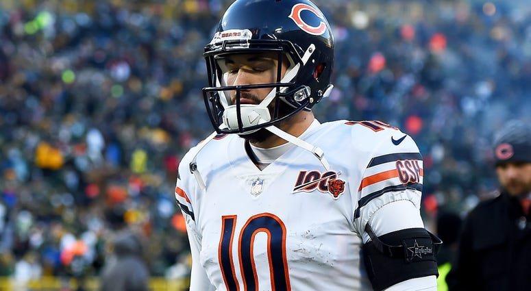 Bears quarterback Mitchell Trubisky leaves the field after a loss to the Packers.