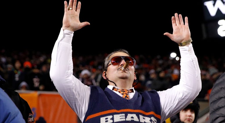 A Bears fan cheers celebrates during the team's game against the Rams.