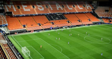 Valencia CF and Atalanta play in a round of 16 matchup in the Championship League in an empty stadium amid a coronavirus outbreak.