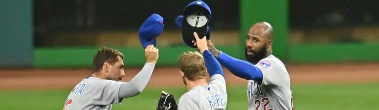 Cubs outfielders Albert Almora Jr., left, Ian Happ, center, and Jason Heyward celebrate a win.