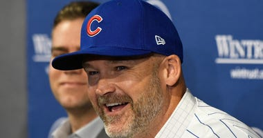 Cubs manager David Ross smiles at his introductory press conference.