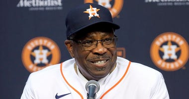 Astros manager Dusty Baker smiles at his introductory press conference with the team.