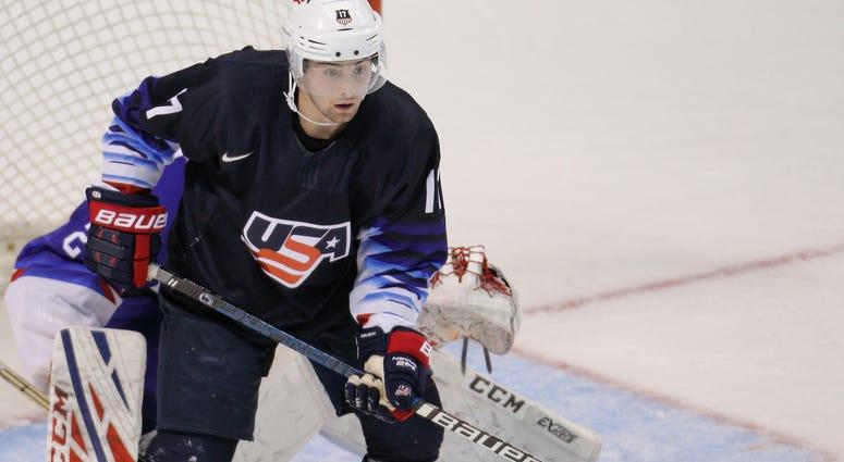 Evan Barratt with Team USA at the IIHF World Junior Championships in December 2018.