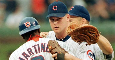 Cubs pitcher Kerry Wood celebrates after his 20-strikeout game on May 6, 1998.