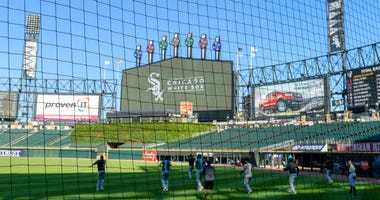 A view from behind the extended protective netting at Guaranteed Rate Field