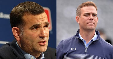 Left: White Sox general manager Rick Hahn; Right: Cubs president of baseball operations Theo Epstein