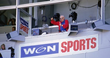 "Legendary Cubs broadcaster Harry Caray sings ""Take Me Out to the Ball Game"" at Wrigley Field in 1996."