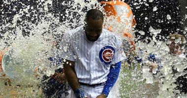 Cubs outfielder Jason Heyward gets a Gatorade bath after his walk-off homer.
