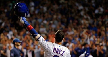 Cubs shortstop Javier Baez gets a curtain call in 2016