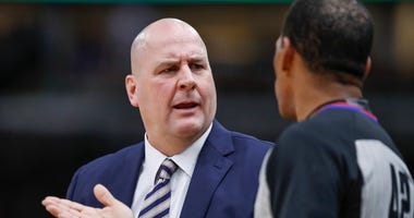 Bulls coach Jim Boylen protests a call with an official.
