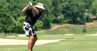 Former Bears quarterback Jim McMahon golfs at the BMW Charity Pro-Am in South Carolina in 2014.