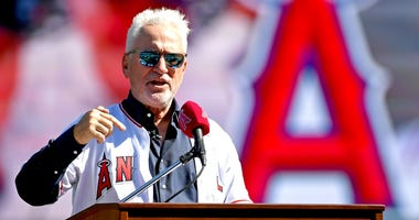 Angels manager Joe Maddon speaks at his introductory press conference.