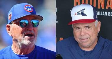 Left: Cubs manager Joe Maddon. Right: White Sox manager Rick Renteria