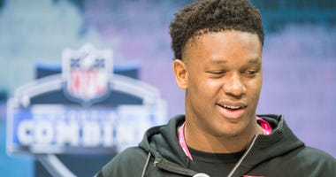 Notre Dame defensive lineman Julian Okwara speaks to the media at the NFL Combine.