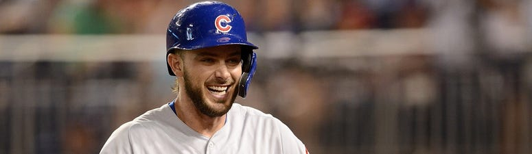 Cubs third baseman Kris Bryant reacts after hitting a homer against the Nationals in 2019.