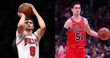 Left: Bulls guard Zach LaVine. Right: Bulls point guard Ryan Arcidiacono