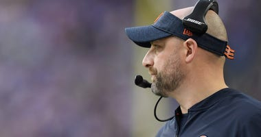 Bears coach Matt Nagy looks on in a game against the Vikings.