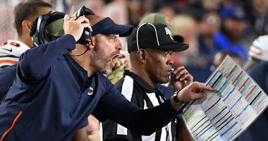 Bears coach Matt Nagy yells from the sideline in a game against the Rams.