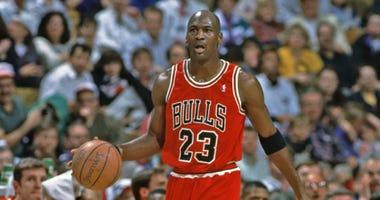 Bulls guard Michael Jordan in an undated photo