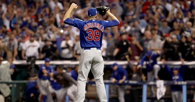 Cubs left-hander Mike Montgomery celebrates after saving Game 7 of the 2016 World Series.