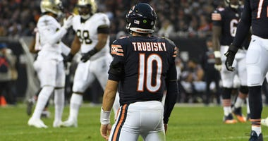 Bears quarterback Mitchell Trubisky looks on in a loss to the Saints.