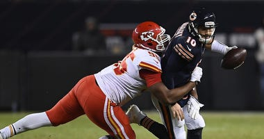 Bears quarterback Mitchell Trubisky is sacked by Chiefs defensive lineman Chris Jones.