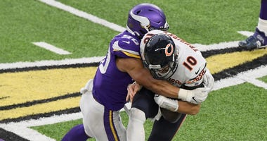 Bears quarterback Mitchell Trubisky is sacked by Vikings linebacker Eric Wilson.
