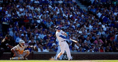 Cubs shortstop Nico Hoerner homers against the Pirates.