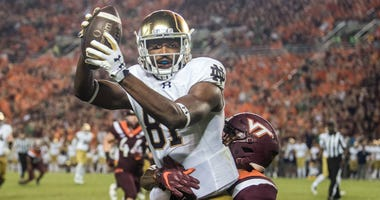 Notre Dame receiver Miles Boykin (81) catches a pass against Notre Dame.